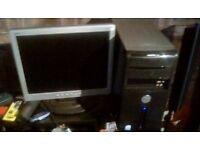 Dell Desktop PC Monitor, Mouse, Keyboard & Leads 2GHZ - 64 BIT - 140GB HD 2GB Memory