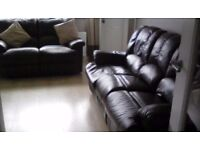 3&2 dark brown leather recliners