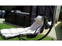 Grey and cream helicopter swing chair