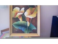 Framed canvas picture hand painted