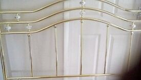 Brass 5ft (king size) headboard with ceramic finials good condition