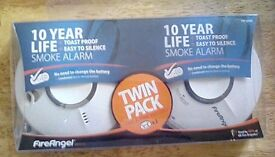 Smoke alarms..twin pack. 10 years no battery change.