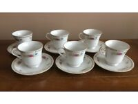 A Set of 6 Liling China Tea Cups and Saucers
