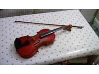3/4 size violin with bow and case.