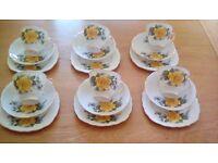 Vintage Royal Malvern Yellow Rose Bone China Tea Set - 18 piece