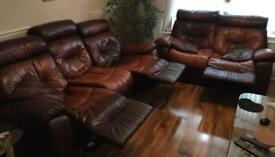 3 seater and 2 seater full real brown leather, lazy boy style seats with manual opening legs ,