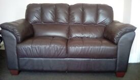 Sofa 2seater dark brown leather look