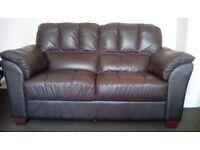 Sofa 2seater dark brown leather look