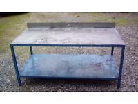Steel workbench with shelf