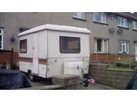 french retro folding caravan with awning folds down into trailer very easy to tow