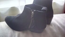 Designer Black suede leather ankle boots size 5