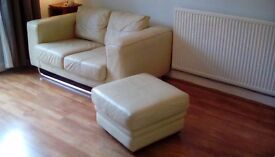 Two Leather Cream Sofas with pouffe