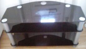Large glass tv stand, 3 level, black in colour