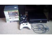 Black xbox 360 15 games and 3 controllers