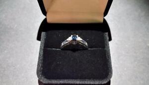 Ladies 10K White Gold Diamond and Sapphire Ring
