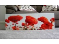 Red poppies glass wall picture