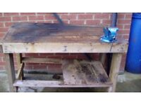 Wooden workbench with new swivel vice