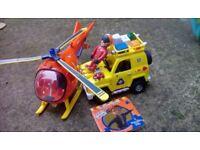 Fireman sam helicopter, rescue van, figurine and mini book