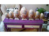 7 ceramic chinese style eggs