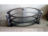 Black and chrome stylish oval tv stand