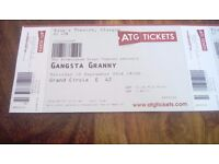 Adult and child ticket for Gangsta Granny .Kings Theatre Glasgow.