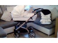 White leather vib pram 2 in 1 with crystals