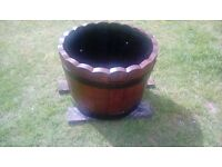 SOLID OAK BARREL PLANTER