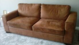 3 seater suede chestnut sofa excellent condition
