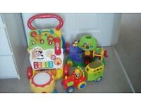 Toddler toy bundle Walker/discovery tree/drum/tractor