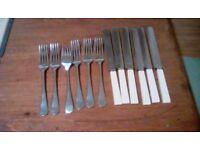 1930's Vintage Sheffield Dinner Knives and Forks