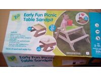 Delux picnic table and sandpit