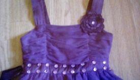 Girls age6-7 purple diamante party dress