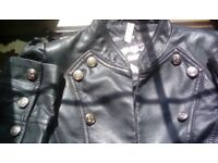 Military Denim & Co cropped black leather look jacket size 14 but more 12