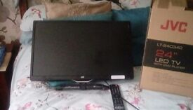 """24"""" JVC Led T.V. with DVD Player suitable for wall mounting"""