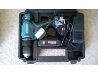 ERBAUER 18V COMBI DRILL WITH 2 X 2.0AH BATTERIES, CHARGER, MANUAL & CARRY CASE