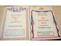 Royal memorabilia, old Coronation maps with Royalty dates on reverse.