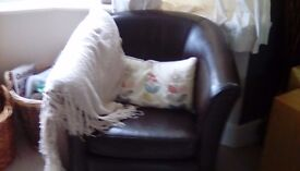 John Lewis leather tub chairs