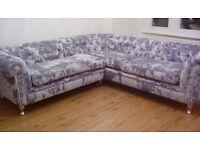 Crushed siver velvet chesterfield Shape sofa bespoje handmade