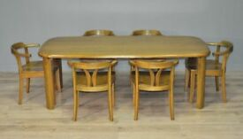 Large Light Oak Japanese Oriental Low Dining Kitchen Table & Six 6 Chairs