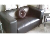 2 Seater Leather Sofa in Black