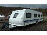 2007 Hobby 720 UKFE Prestige Caravan, twin axle, fixed bed, twin bunks, two seating areas