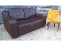 Modern Brown Leather Sofa *FREE LOCAL DELIVERY* Two Seater Good Condition (dfs harveys corner dwell)