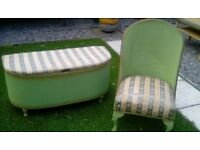 Lloyd Loom Vintage Style, Bedside Chair and Ottoman.