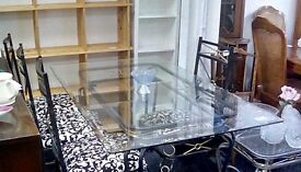 Glass dining table and 4 decorative chairs £89 #25196