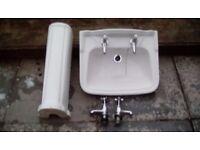 Wash hand basin + s/s sink + bath panel + taps