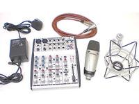 STUDIO EQUIPMENT, SAMSON CL-7 XLR MICROPHONE, SHOCKMOUNT, BEHRINGER UB1002 MIXER