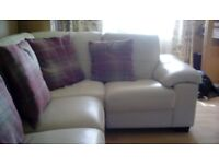 Cream leather sofa corner unit