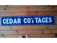 Antique Enamel Sign - Cedar Cottages