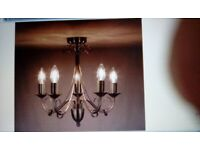 Set Of Two Chandeliers Antique Brass Effect 5 & 3 Arm