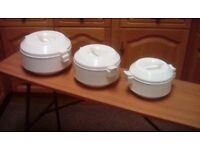 Set of 3 new insulated white casserole pots